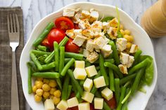 Power Salad with Chicken, Cheddar and Garbanzo Beans #eatcleanpinparty