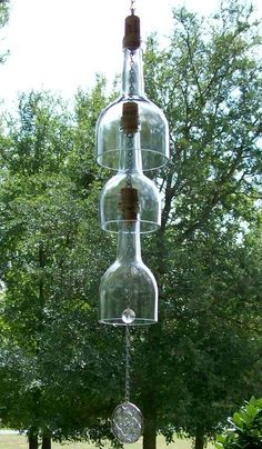 Wine Bottle Wind Chimes | Elegant Clear Wine Bottle Wind Chime Recycled/Upcycled by CDChilds