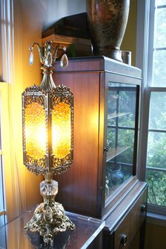 Amber Lamp Stained Glass Window Brass and by theenchantedfigtree, $150.00