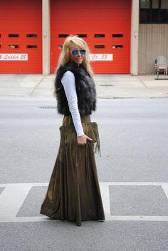fur + gold maxi skirt