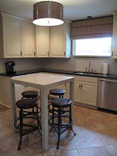 Metal Kitchen pendant, iron and wood stools, neutral kitchen