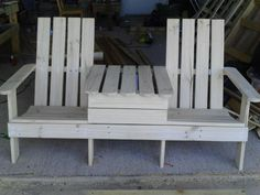 pallet jack and jill chair. Hinge center table to put cooler inside.