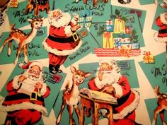Vintage 1950's Christmas Wrapping Paper Santa's List