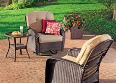 Enjoy a relaxing moment on the patio or in the yard with NorthCrest's Jacksonport Wicker Cush Rocker. #shopko