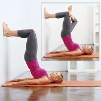 Do this for 2 weeks and watch your tummy flatten and thighs/butt get toned... all you need is a wall. ~I like these.
