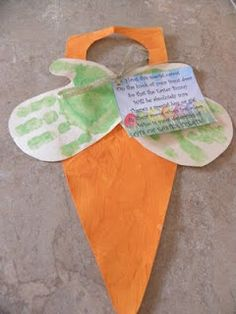 #Easter craft!   With poem:  Hang this special carrot  On the knob of your front door  So that the Easter Bunny  Will be absolutely sure  There's a special boy or girl   In their room who's fast asleep  who is most deserving of   Lots of Easter Treats!