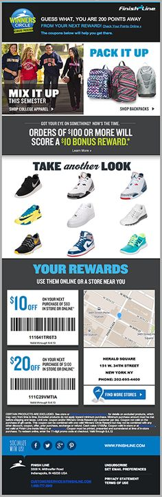 Finish Line used real-time geo-targeting to show each recipient a map of the nearest retail store. Adding discount barcodes directly in the email helps mobile consumers take advantage of coupons when in-store. #emailmarketing