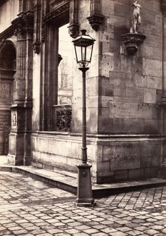 "Charles Marville, (French, 1813–1879). Lamppost, Entrance to the École des Beaux-Arts, ca. 1870. Collection W. Bruce and Delaney H. Lundberg  | This photograph is featured in ""Charles Marville: Photographer of Paris,"" on view through May 4, 2014. #paris"