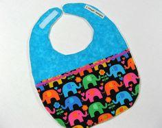 Baby Bib- Bright Elephants Infant Bib Toddler Bib. $10.00, via Etsy.