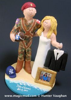 Paratroopers Wedding Cake Topper  heres a super duper paratrooper that is no raw recruit....this airborne soldier has just dropped in for the wedding attired in his usual camo flight uniform.... no worries....his fiance is at the ready with his matrimonial suit ...$235#soldier#paratrooper#air_force#marine#beach#wedding #cake #toppers  #custom #personalized #Groom #bride #anniversary #army#navy#military#birthday#wedding_cake_toppers#cake_toppers#figurine#gift
