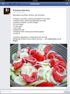 making this today!! very refreshing :-) Marinated onions  Cucumber Salad