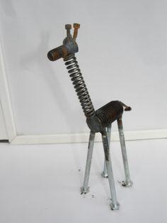 recycled giraffe metal garden sculpture