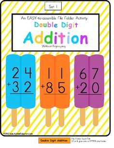 FREE File Folder Game Double Digit Addition Without Regrouping
