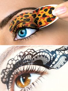 Eye Show    Temporary tattoos can already help you line your eyes and paint your lips, but that's not all. They can also give you a unique eye shadow look. Think wild cheetah print, lace designs, and ombre shading. The best part? It's super fast to apply, won't fade by dinner, and looks completely even on both lids.    Get it: Eye Envy (set of 2), $20 art eye, cheetahs, eye envi, cheetah print, eye tattoo, dinners, temporari tattoo, lace design, a tattoo