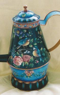 I would love to paint this! Gene Prewitt pattern packet Bird Nest Bouquet Coffee Pot