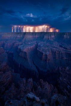 Canyon lightening storm.