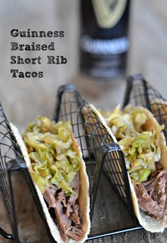 Guinness Braised Short Rib Tacos with Beer Braised Cabbage