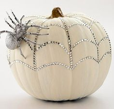 Bling Style Pumpkins! - #Halloween #Crafts and  #Ideas halloween decorations, halloween idea, pumpkin decorations, halloween fun, halloween pumpkins, halloween crafts, white pumpkins, craft ideas, spider web