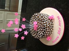21st Birthday Cake in Leopard Print.