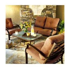 Clybourn Deep-Seating Patio Set, Steel Frames With Olefin Cushions, 4-Pc.
