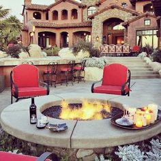 dream backyard, dream homes, fireplace design, backyard living, pool houses, dream hous, backyard fire pits, beauti homes, perfect backyard