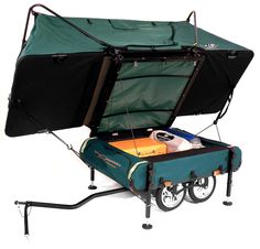 The world's smallest pop up camper can be hauled by a single person on the back of a bike, most convenient for those adventurous bikers that will need spacious room for rest.