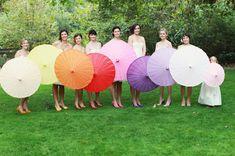 rainbow bridesmaid parisols