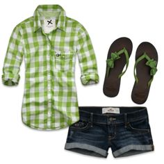 Cute!!!! jean shorts, summer fashions, summer outfits, flip flops, bows, denim shorts, shoe, everyday outfit, shirt