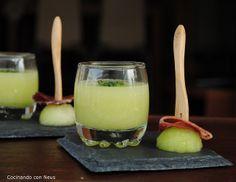 Neus cocinando con Thermomix: Vasito de melón con brocheta de jamón ibérico