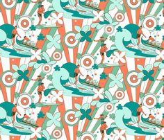 Groovy Surfers Restricted Palette fabric by vinpauld on Spoonflower - custom fabric