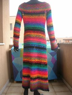 Multicolor Striped Crochet Coat