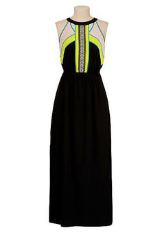 Colorblock maxi dress with embroidered trim (original price, $44) available at #Maurices