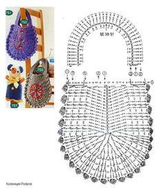 cartera crochet, purs, crochet bags, crochetbag, de crochet, chart, bolso, bolsa crochet, bag patterns
