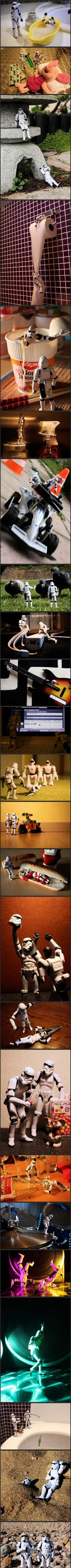 Storm troopers - A day in the life.    Jahna Dooling, this reminds me of your twins!