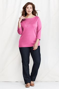 Women's 3/4-sleeve 1x1 Snap Boatneck from Lands' End