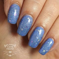 atlcatsmeow #lynnderella LE A Bird Named Bunnie is a softly holographic periwinkle blue microglitter with assorted holographic accents in a clear pink-shimmered base. Shown over #illamasqua Cameo #lovelynnderella