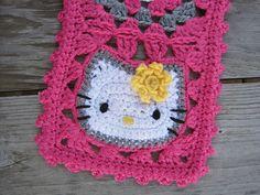 Hello kitty granny square, omg