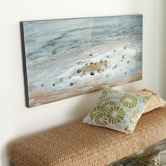 DIY #art idea. Glue beach pebbles onto #ocean canvas. More DIY wall art ideas at Completely Coastal: http://www.completely-coastal.com/search/label/DIY%20Wall%20Art