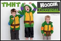 DIY Ninja Turtle Hoodies with FREE PATTERN including the elbow band, chest piece, and shell pieces to add to an existing jacket or handmade one. Fits child sizes 6, 7, and 8 and could easily be adapted for smaller sizes.   VanillaJoy.com