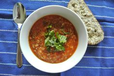 Summer Tomato, Basil and Farro Soup