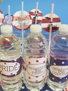 FREE Printable Memorial Day Printables. holiday, free printable bottle labels, printabl memori, free memori, memorial day printables, 4th of july, water bottle labels, parti, water bottles