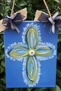 Hand painted canvas with multicolored swirl cross and by TheTinyb, $30.00