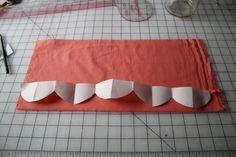 scallops, quilt, sew tutori, freezer paper, papers, scallop hem, perfect scallop, month sew, sewing tutorials