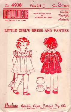 1940s Vintage/ Antique Sewing pattern -Girls Dress doll cloth, girl sew, vintag pattern, child illustr, antique sewing patterns, dresses, vintage patterns, children, sew pattern