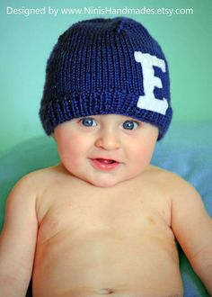 Newborn Size is IN STOCK LETTER Beanie Navy by NinisHandmades, $26.50