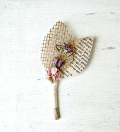 Rustic Handmade Wedding Boutonniere, Dried Flowers, Burlap, Vintage Book Page, Leaves, Natural, Cream, Pink, Purple, Custom, The Sunny B.