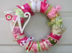 Love these ribbon wreaths!