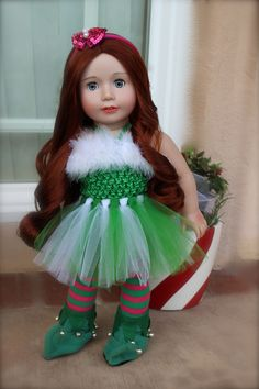 Santa's Elves Costumes for American Girl Dolls are available at www.harmonyclubdolls.com