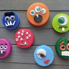 Re-use plastic lids from milk and juice cartons to make scary and silly monster magnets!