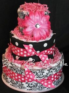 Girls Diaper Cake in Hot Pink and Damask by Baby2BNashville, $90.00